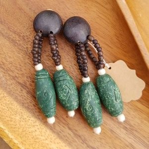 Jewelry - Vintage Clip On Wood & Clay Dangle Earrings